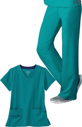 Modern Fit Collection by Jockey® Women's V-Neck Zip Pocket Solid Scrub Top & Yoga Style Scrub Pant Set