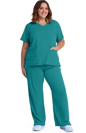 Modern Fit Collection by Jockey® Women's V-Neck Zip Pocket Solid Scrub Top & Yoga Style Scrub Pant Set