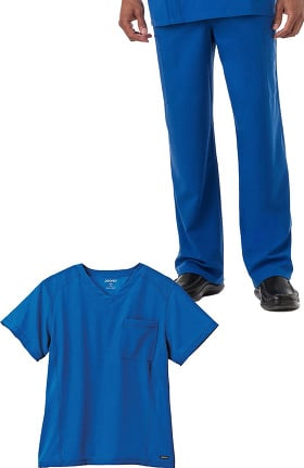 Classic Fit Collection by Jockey® Men's V-Neck Mesh Panel Solid Scrub Top & Drawstring Zip Fly Scrub Pant Set