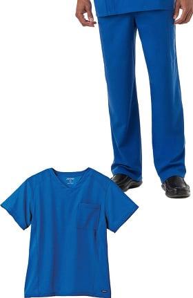 Classic Fit Collection by Jockey® Men's V-Neck Mesh Panel Solid Scrub Top & Drawstring Zip Fly Scrub Pant Set