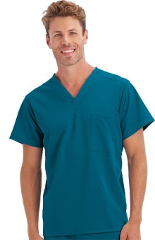 Classic Fit Collection by Jockey Unisex 1 Pocket Tri Blend Solid Scrub Top