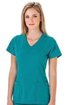 Classic Fit Collection by Jockey Women's Mock Wrap Scrub Top