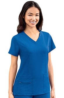 Modern Fit Collection by Jockey Women's Zipper Pocket V-Neck Solid Scrub Top