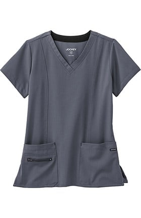 Clearance Modern Fit Collection by Jockey Women's Zipper Pocket V-Neck Solid Scrub Top