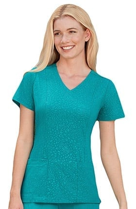 Clearance Classic Fit Collection by Jockey® Women's Solid Illusion™ Tonal Embossed Solid Scrub Top