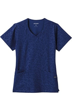 Modern Fit Collection by Jockey® Women's Solid Illusion™ Teardrop Pattern V-Neck Scrub Top