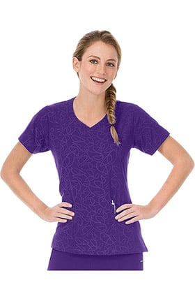 Clearance Modern Fit Collection by Jockey Women's Solid Illusion Teardrop Pattern V-Neck Scrub Top