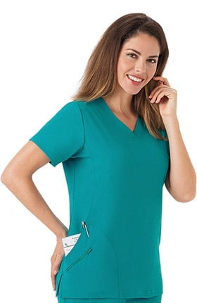 Clearance Classic Fit Collection by Jockey® Women's Side Panel V-Neck Solid Scrub Top