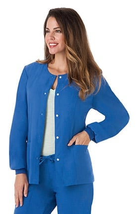 Classic Fit Collection by Jockey® Women's Round Neck Solid Scrub Jacket