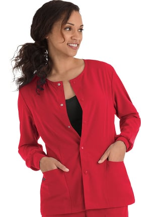 Clearance Classic Fit Collection by Jockey Women's Round Neck Solid Scrub Jacket