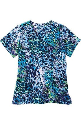 Clearance Classic Fit Collection by Jockey® Women's Mock Wrap Animal Print Scrub Top