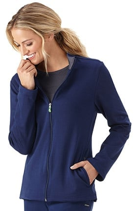Modern Fit Collection by Jockey Women's Zip Front Fleece Lined Solid Scrub Jacket