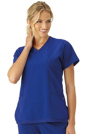 Modern Fit Collection by Jockey® Women's Curved Mesh V-Neck Solid Scrub Top