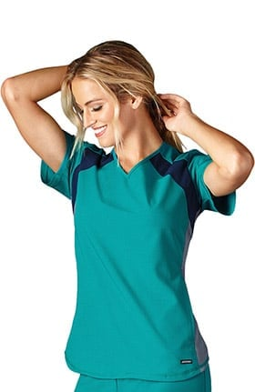 Modern Fit Collection by Jockey® Women's V-Neck Colorblock Solid Scrub Top