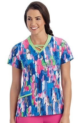 Jockey® Scrubs Women's V-Neck Geometric Print Scrub Top