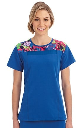 Performance Rx by Jockey® Women's Round Neck Contrast Print Yoke Scrub Top