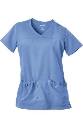 Clearance Classic Fit Collection by Jockey Women's V-Neck Bungee Pocket Solid Scrub Top