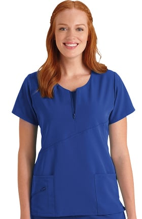 Clearance Classic Fit Collection by Jockey Women's Quarter Zip Double Duty Solid Scrub Top