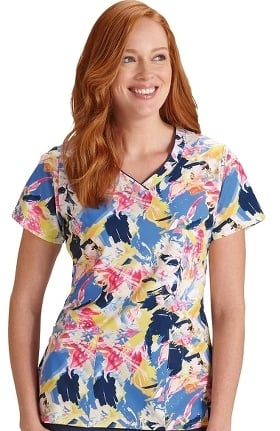 Clearance Classic Fit Collection by Jockey Women's V-Neck Abstract Print Scrub Top