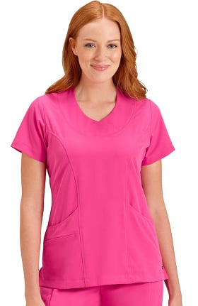 Classic Fit Collection by Jockey Women's Rounded V-Neck Solid Scrub Top