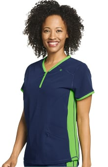 Retro by Jockey Women's Air Condition Zippered Solid Scrub Top
