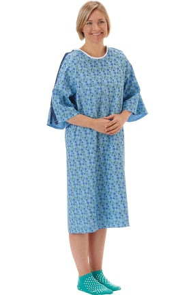 White Swan Unisex Starburst Print IV Telemetry Patient Gown 60 Pack