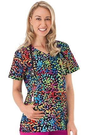 Clearance Bio Women's V-Neck Dots Print Scrub Top
