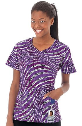 Clearance Bio Women's V-Neck Animal Stripe Print Scrub Top