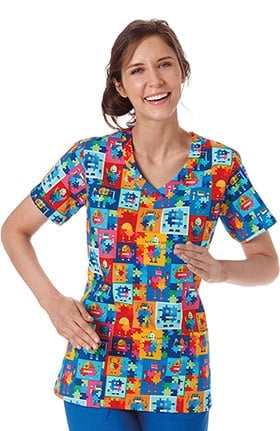 Clearance Bio Women's Curved V-Neck Autism Awareness Print Scrub Top