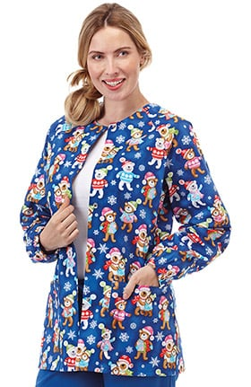 Bio Women's Raglan Sleeve Snap Front Holiday Bear Print Scrub Jacket