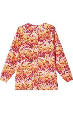 Bio Women's Raglan Sleeve Snap Front Ribbon Print Scrub Jacket