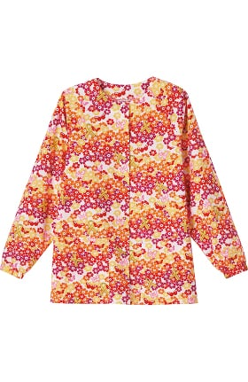 Clearance Bio Women's Raglan Sleeve Snap Front Ribbon Print Scrub Jacket