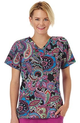 Clearance Bio Women's Mock Wrap Paisley Print Scrub Top