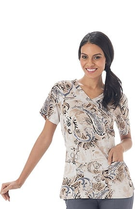 Clearance Bio Women's Bio Mock Wrap Paisley Print Scrub Top