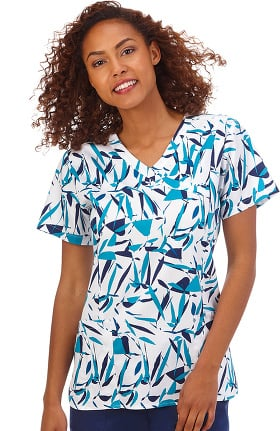 Bio Women's Bio Mock Wrap Abstract Print Scrub Top