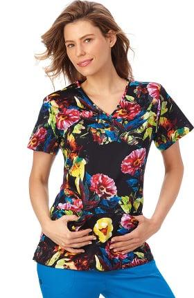 Clearance Bio Women's Shaped V-Neck Floral Print Scrub Top