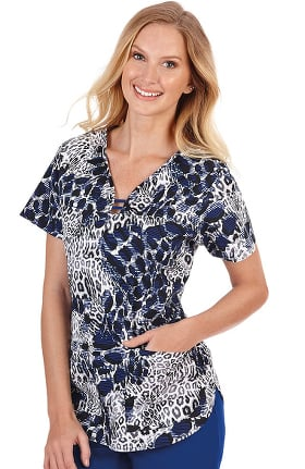 Clearance Bio Women's Contrast Curved Neck Animal Print Scrub Top