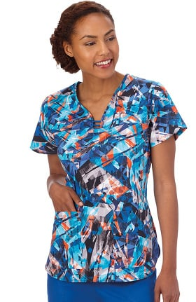 Bio Women's Cutout Y-Neck Abstract Print Scrub Top