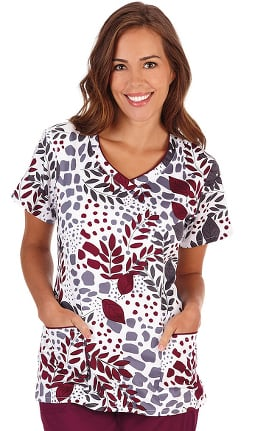 Clearance Bio Women's Contrast Trimmed V-Neck Floral Print Scrub Top