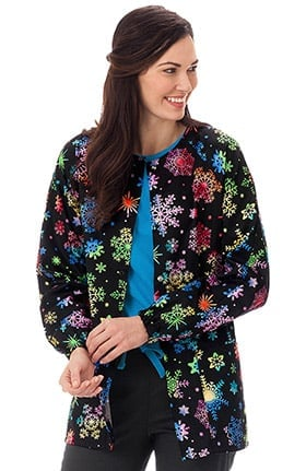 Clearance Bio Women's Warm Up Snowflake Print Scrub Jacket