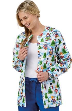 Clearance Bio Women's Snap Front Warm Up Winter Print Scrub Jacket