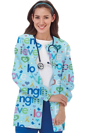 Clearance Bio Women's Snap Front Brain Cancer Awareness Print Scrub Jacket