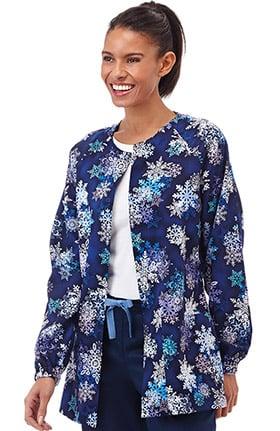Bio Women's Snap Front Snowflake Print Scrub Jacket