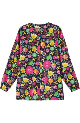 Bio Women's Snap Front Warm Up Floral Print Scrub Jacket