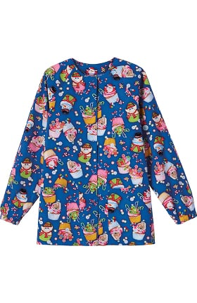Clearance Bio Women's Snap Front Warm Up Winter Cupcake Print Scrub Jacket