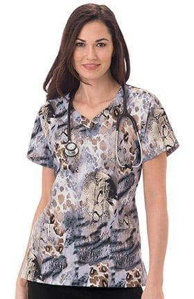 Clearance Bio Women's Overlap V-Neck Animal Print Scrub Top