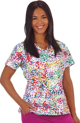 Clearance Bio Women's Bio Mock Wrap Abstract Print Scrub Top