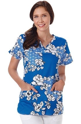 Clearance Bio Women's Y-Neck Floral Print Scrub Top
