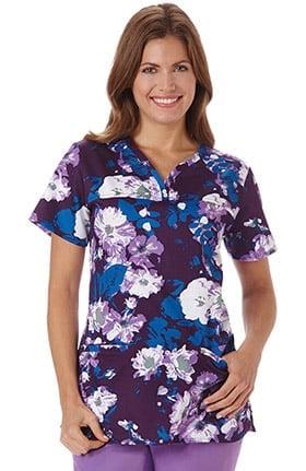 Clearance Bio Women's Y-Neck Floral Print Scrub Top