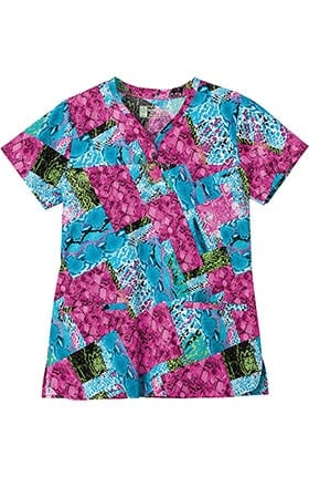 Clearance Bio Womens Shaped Neckline Animal Print Scrub Top